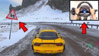 Forza Horizon 4 Touge Drifting MAZDA RX-7 in Snow (Steering Wheel + Shifter) Fortune Island Gameplay