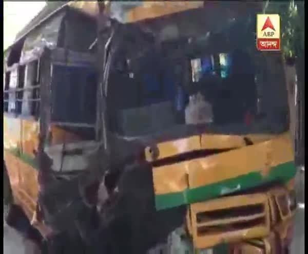 School bus accident near park circus flyover, driver dead, 11 students  injured