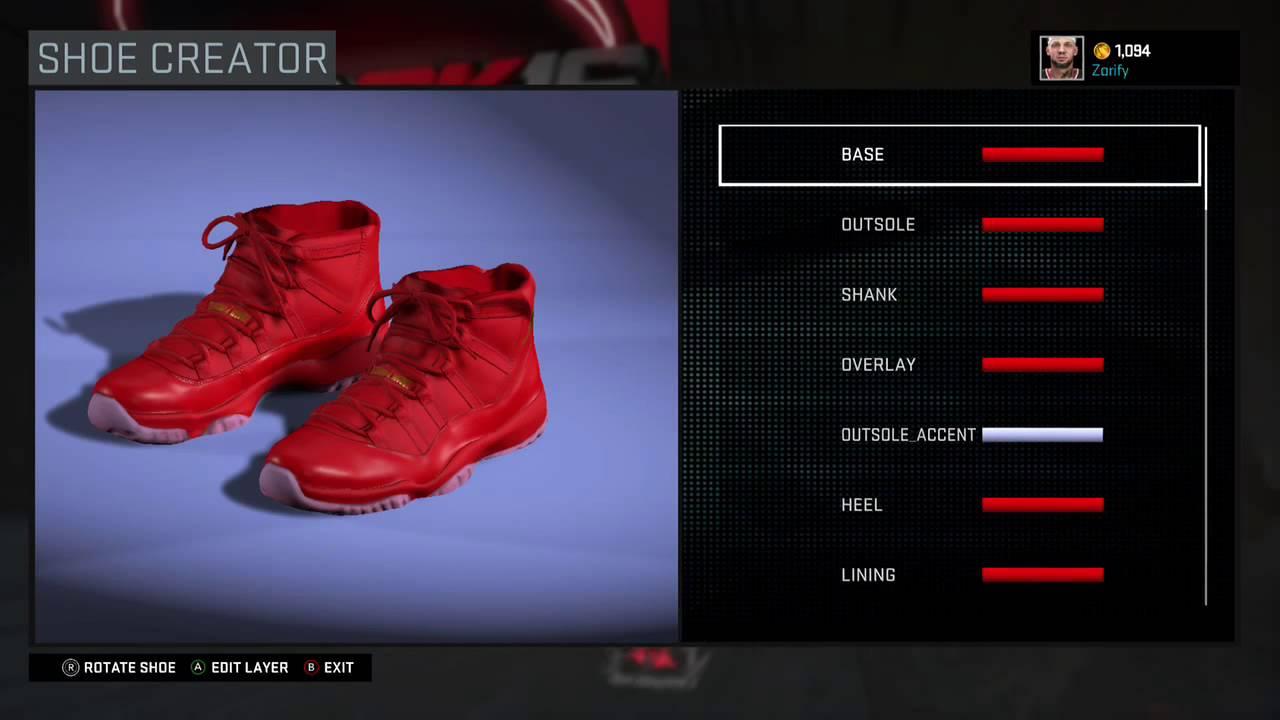 purchase cheap ab369 b67fa ... wholesale nba 2k16 shoe creator air jordan 11 custom red october 2c1d5  8c73b