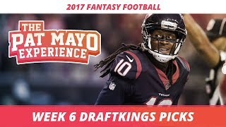 2017 fantasy football - week 6 draftkings picks, preview and sleepers
