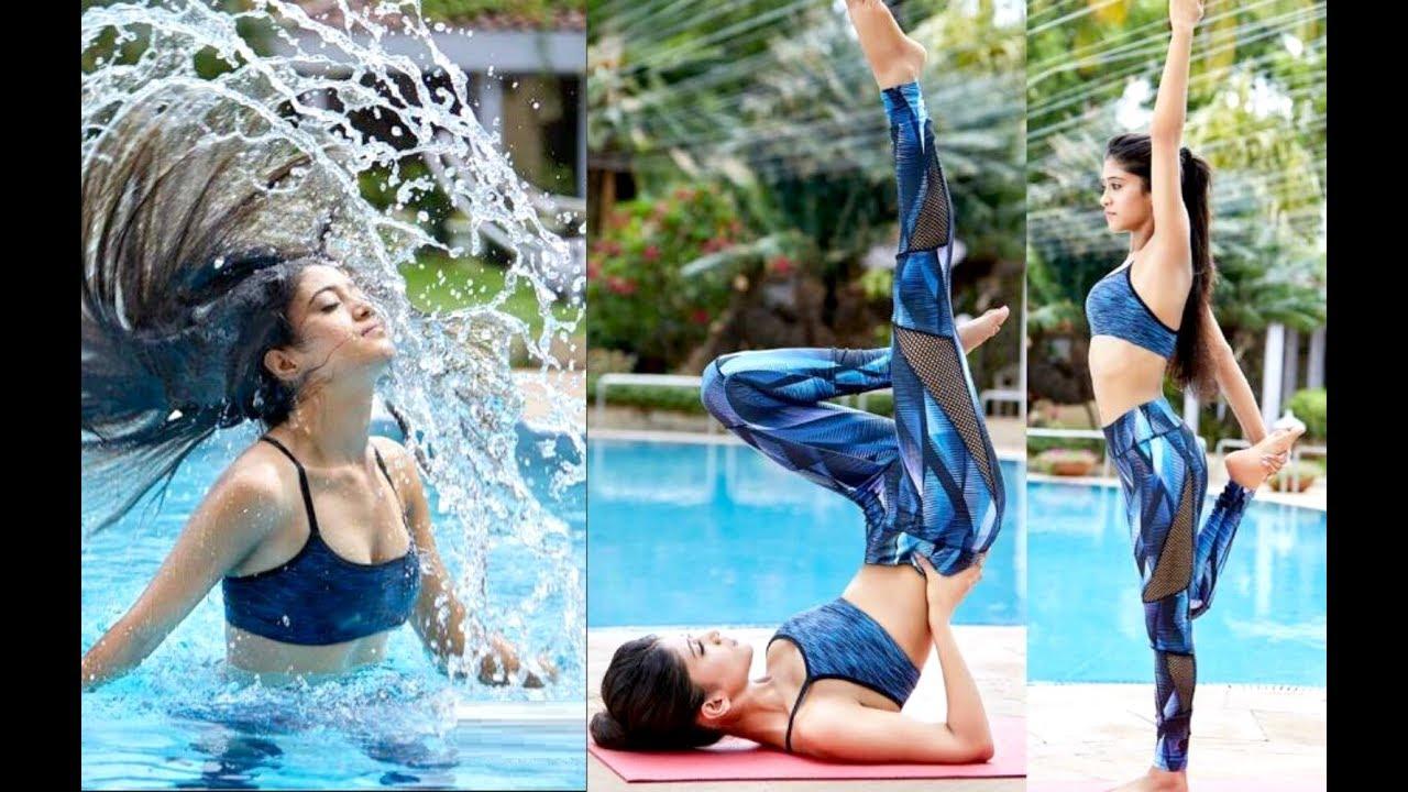 Shivangi Joshi Hot Yoga Poses By The Pool