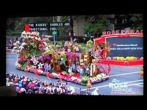 Horse Jockeys and Dole Hawaii float at the 2017 Rose Parade (1-2-17)
