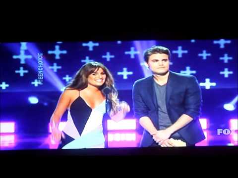 Paul Wesley and Lea Michele presenting Choice Movie Villain (08.10.2014)
