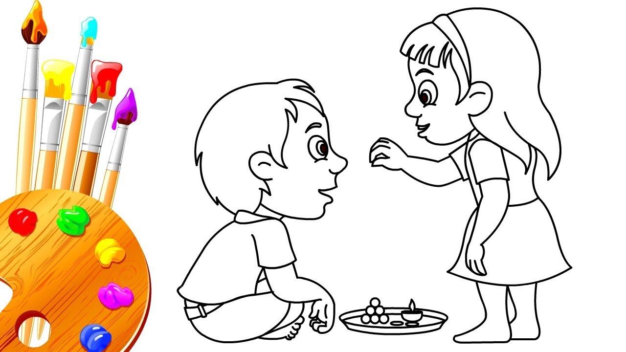 How to Draw and Color Bhai Dooj BhauBeej Festival