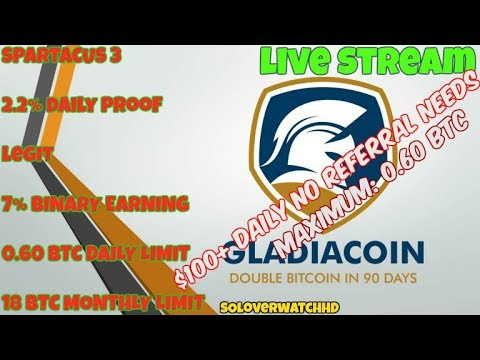 """Gladiacoin """"The Power of 2.2% per day Calculator"""""""