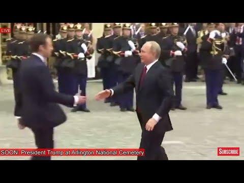 President Vladimir Putin of Russia and Emmanuel Macron Arrive at Palace of Versailles