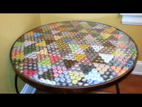 Craft beer bottle cap table & it spins too!