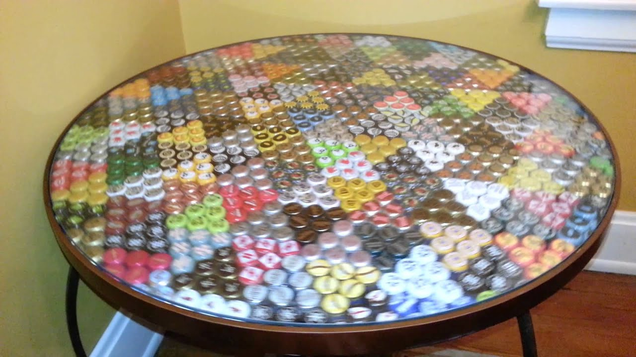 Craft beer bottle cap table it spins too youtube for How to make a table out of bottle caps