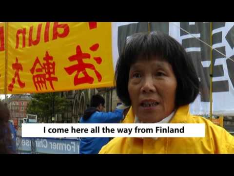 Falun Gong protests at Chinese State Visit - Manchester Headline News