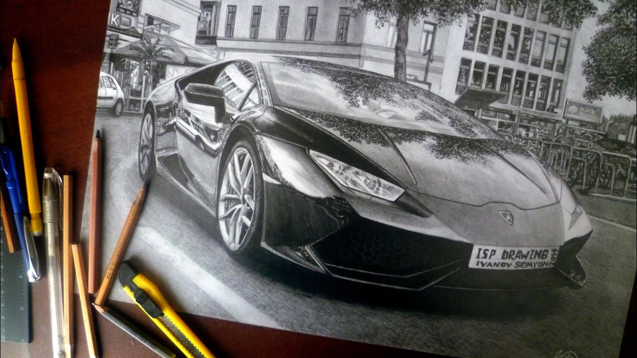 Realistic Pencil Drawing Lamborghini Huracan Speed
