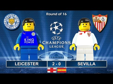 LEICESTER CITY vs SEVILLA 2-0 • Champions League 2017 • 14/03/2017 ( Film Lego Football Highlights )