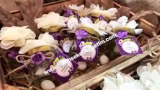 Nikah şekeri cam kavanoz çiçekli tasarım en uygun nikah şekeri