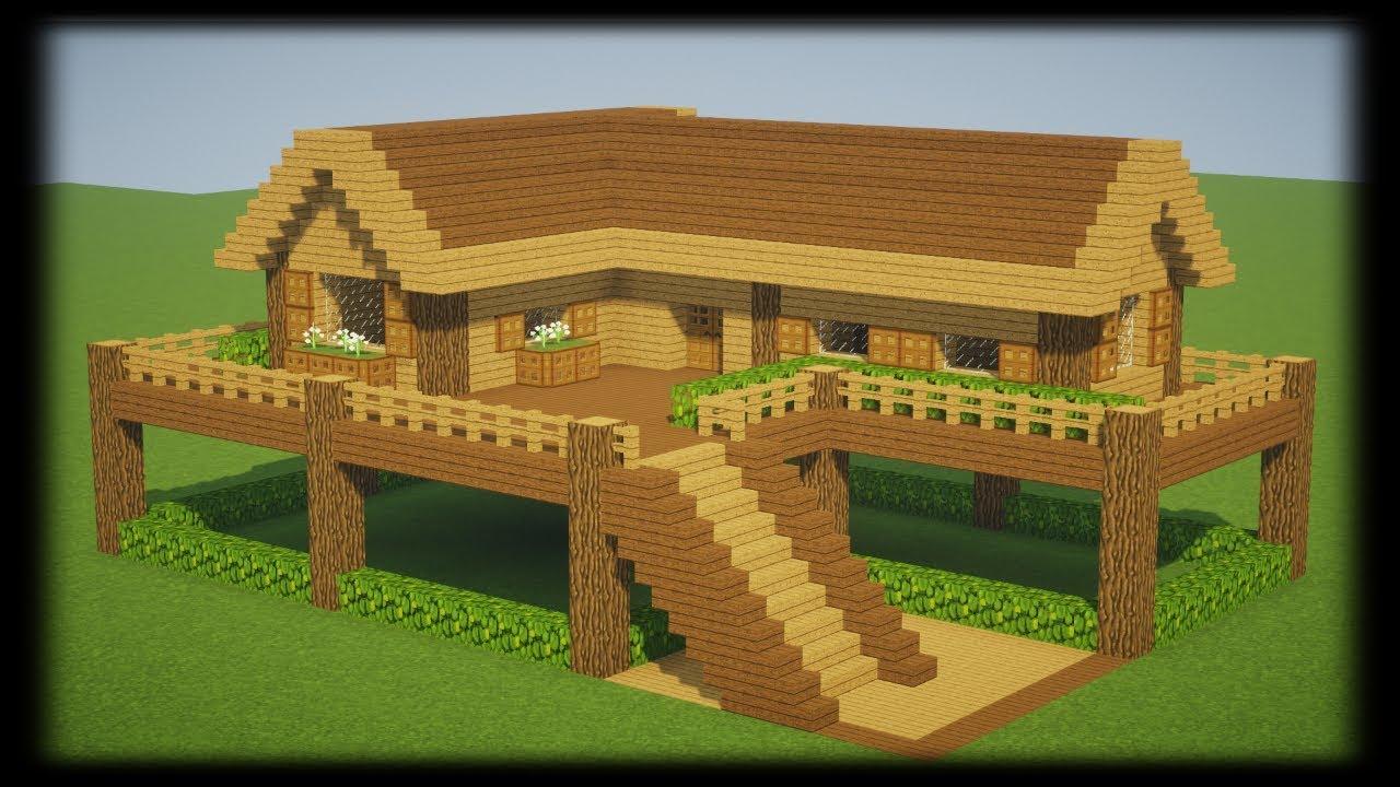Tuto Grande Maison En Bois Facile A Faire Minecraft