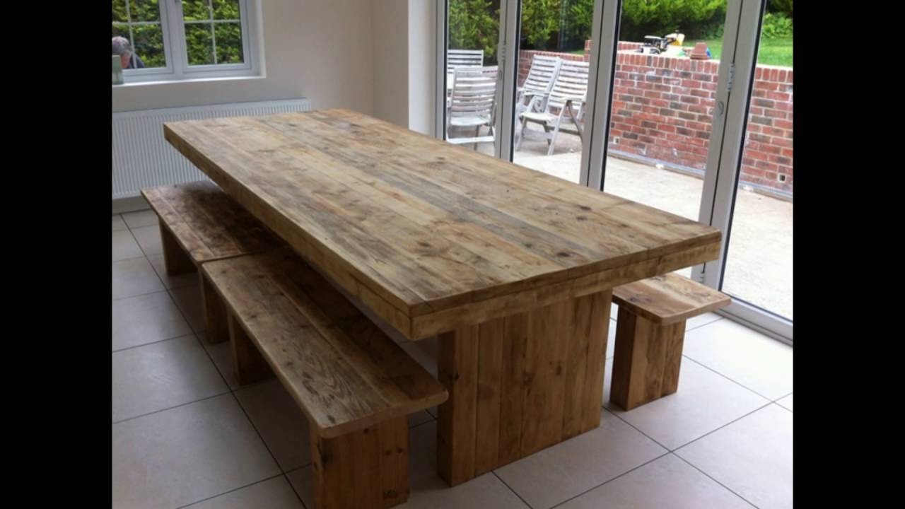 oak bench for dining table - YouTube