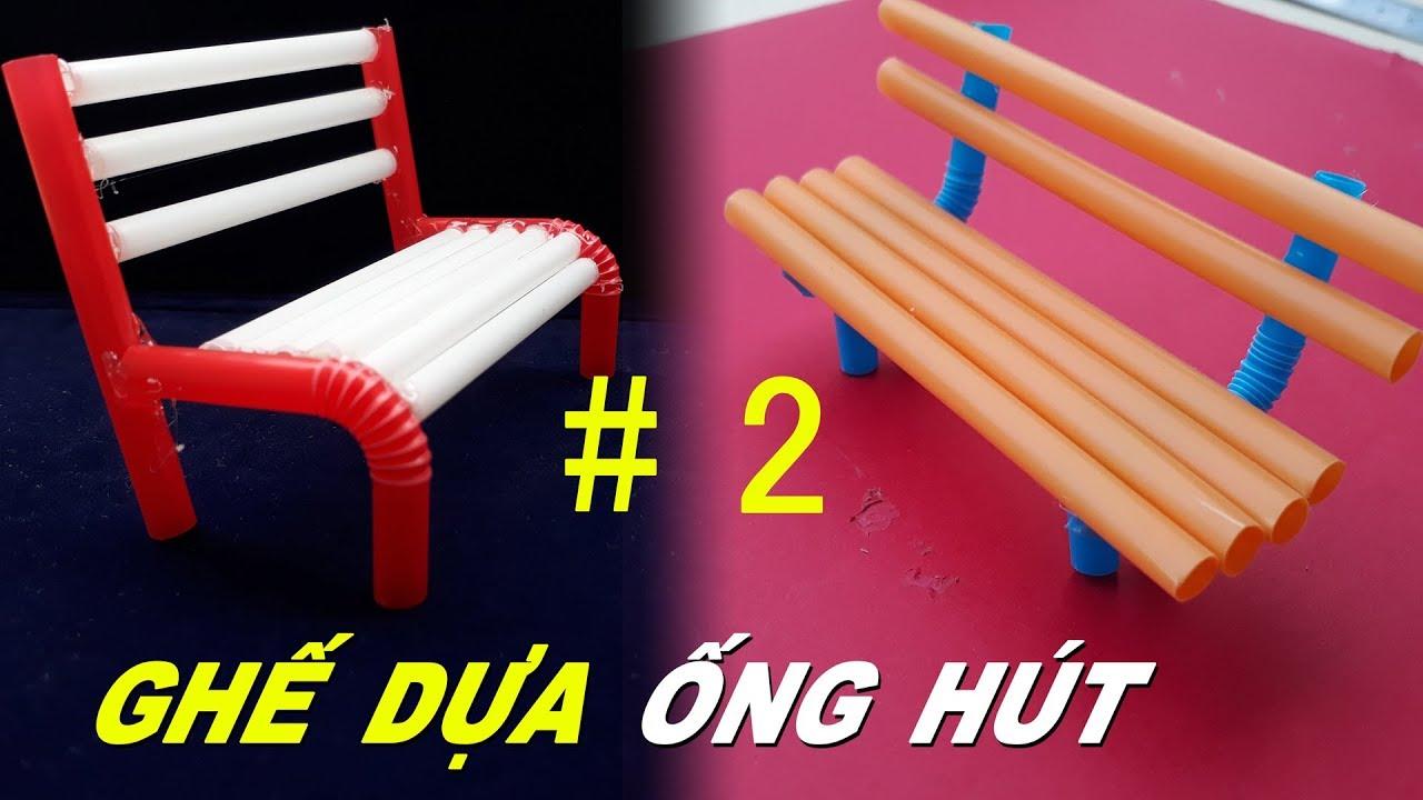 2 Cách làm băng ghế dựa từ ống hút đơn giản cho búp bê chơi