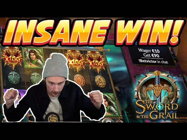 INSANE WIN! Sword and the Grail Big win - HUGE WIN on Casino slots from Casinodaddy LIVE STREAM