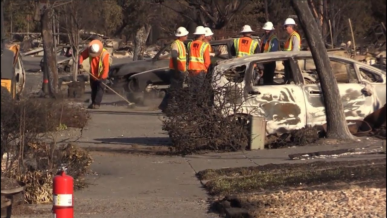Families return to fire-ravaged Santa Rosa homes to assess damage
