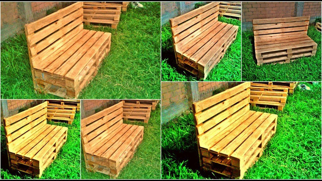 Banca de palets o banca de madera para jardin detalles de madera muebles de artesanales de - Como hacer muebles de jardin con palets ...