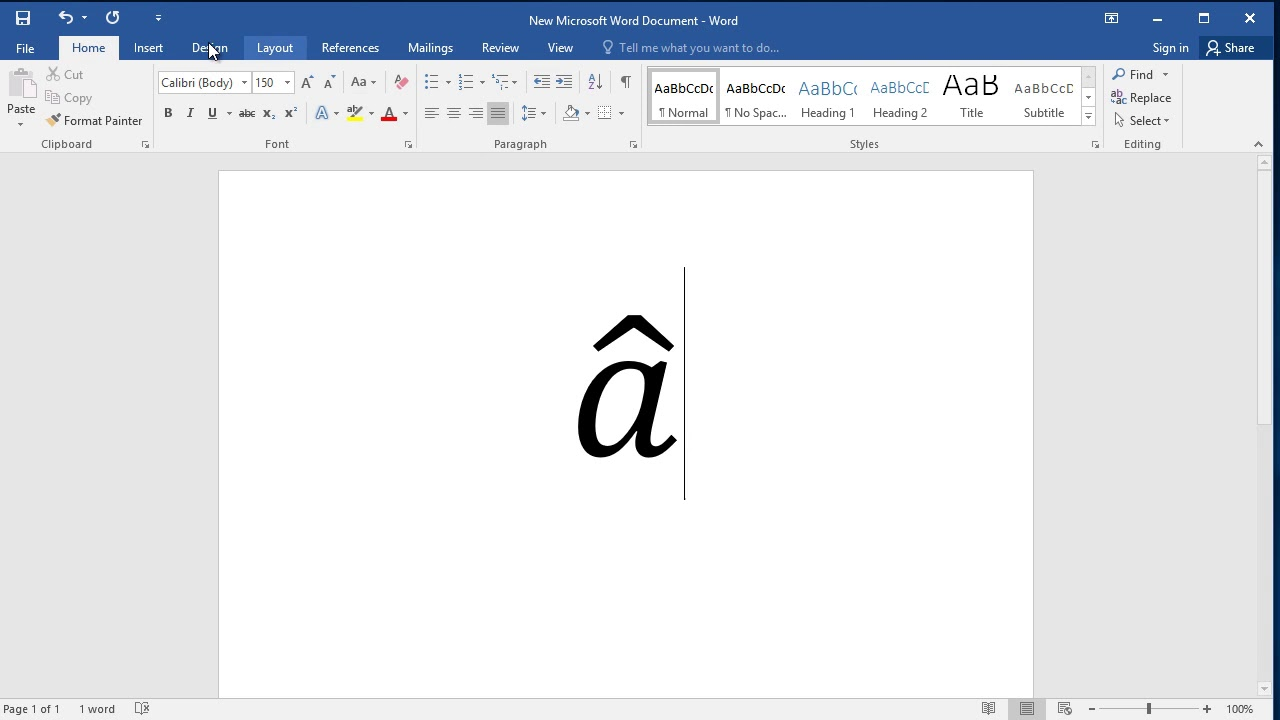 How To Put A Hat Over Any Letter Or Character In Word Youtube