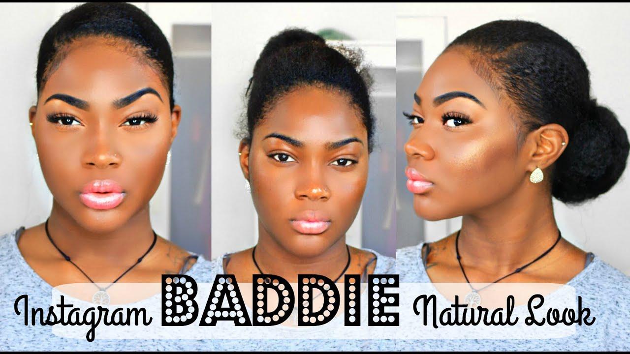 Instagram baddie natural hair and makeup tutorial on dark skin instagram baddie natural hair and makeup tutorial on dark skin youtube baditri Choice Image