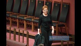 Senate QuestionTime Burqa Stunt by Senator Pauline Hanson and Senator George Brandis' Response