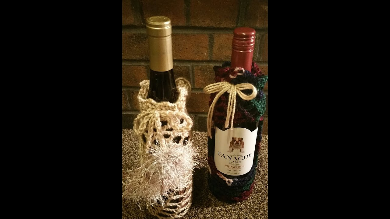 How to crochet a fishnet wine bottle koozie - YouTube