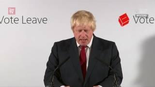 Pro-Brexit politician Boris Johnson says 'no need for haste' following Britain's vote to leave EU