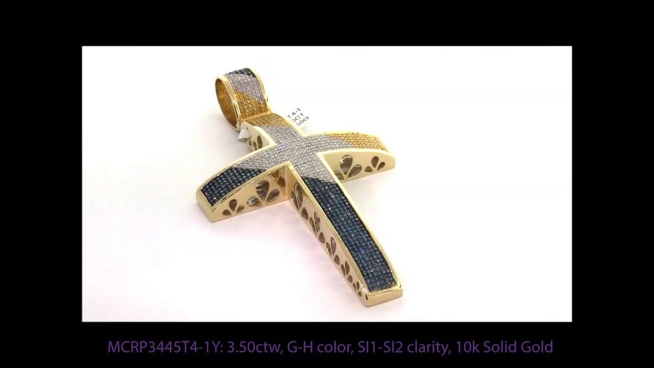 350 carat white yellow blue diamond big cross pendant for men in 350 carat white yellow blue diamond big cross pendant for men in 10k yellow gold youtube mozeypictures Choice Image