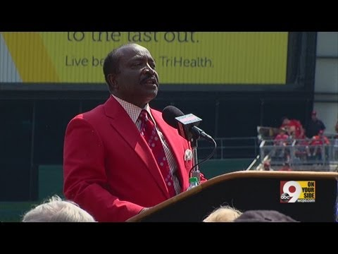 Joe Morgan speaks about statue outside Great American Ball Park