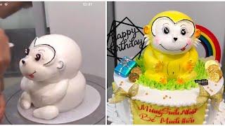 Cách làm bánh kem con khỉ 3D - How make mokey birthday cake