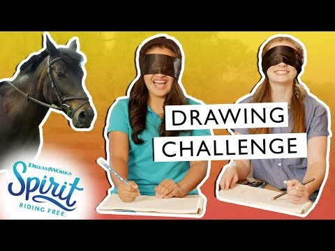 Blindfolded Horse Drawing Challenge! + How to Draw a Horse! | THAT'S THE SPIRIT