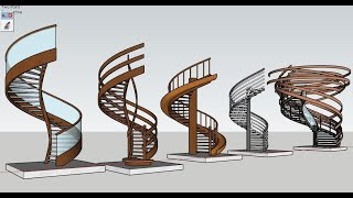 Sketchup modeling Tutorial - Spiral staircase - Dựng cầu thang xoắn
