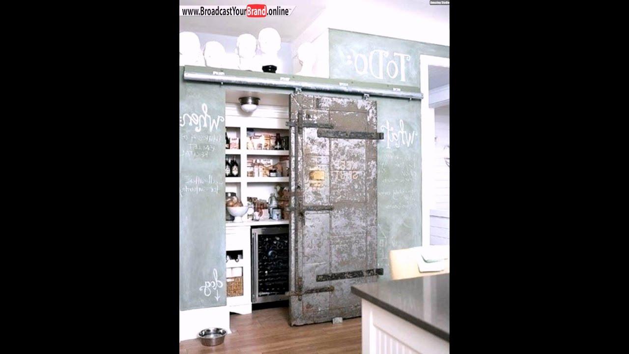 Schiebetüre Aus Holz Im Interieur Küchenschrank Verstecken - YouTube