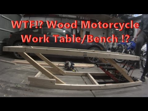 DIY Home made Adjustable Wood Motorcycle Work Table for 20 Bucks