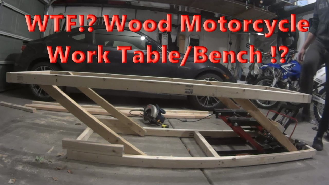 Diy Home Made Adjustable Wood Motorcycle Work Table For 20