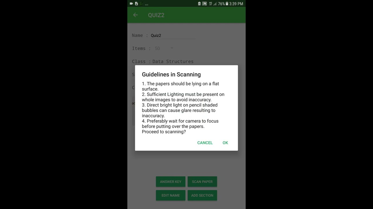 Android mobile grading app  OMR Bubble type answer sheet