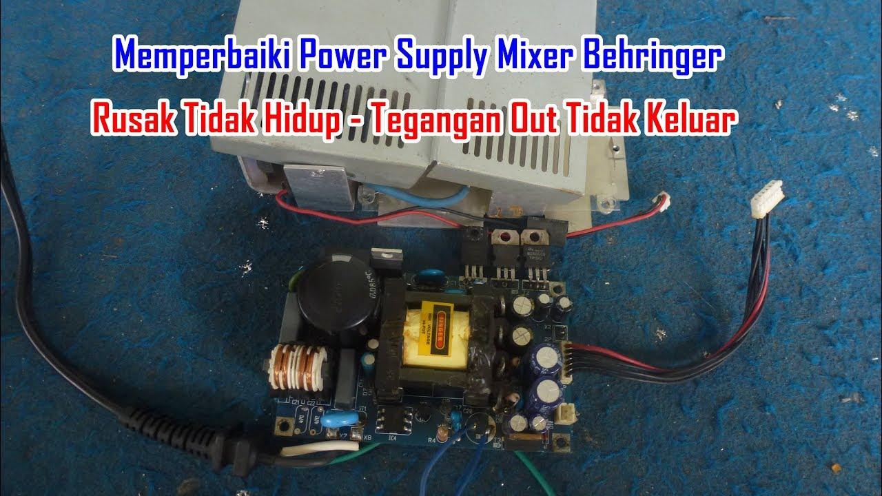 Memperbaiki Power Supply Mixer Behringer Rusak Tidak Hidup - Tegangan on