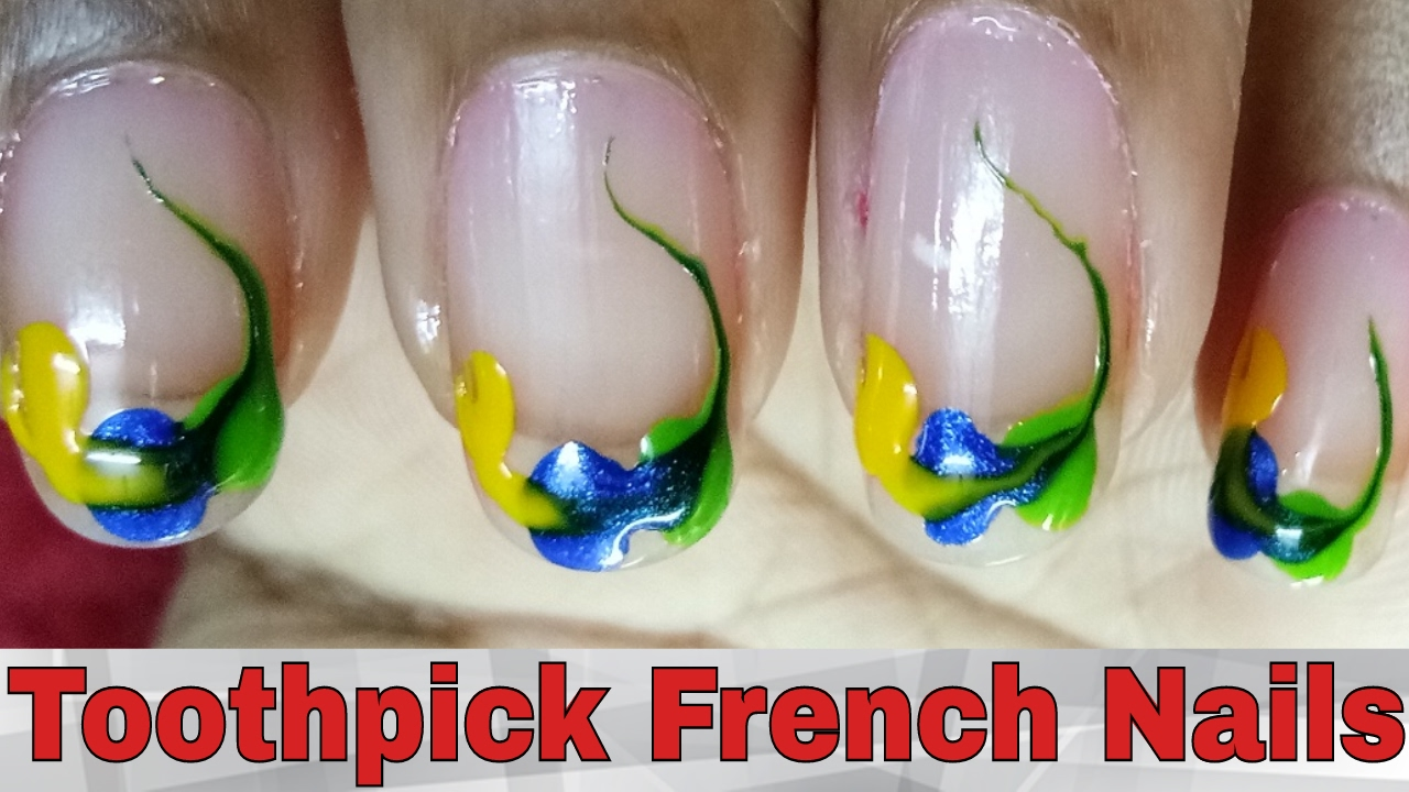 French Nails Art Designs Tutorial At Home || Toothpick French Nail Art 2017