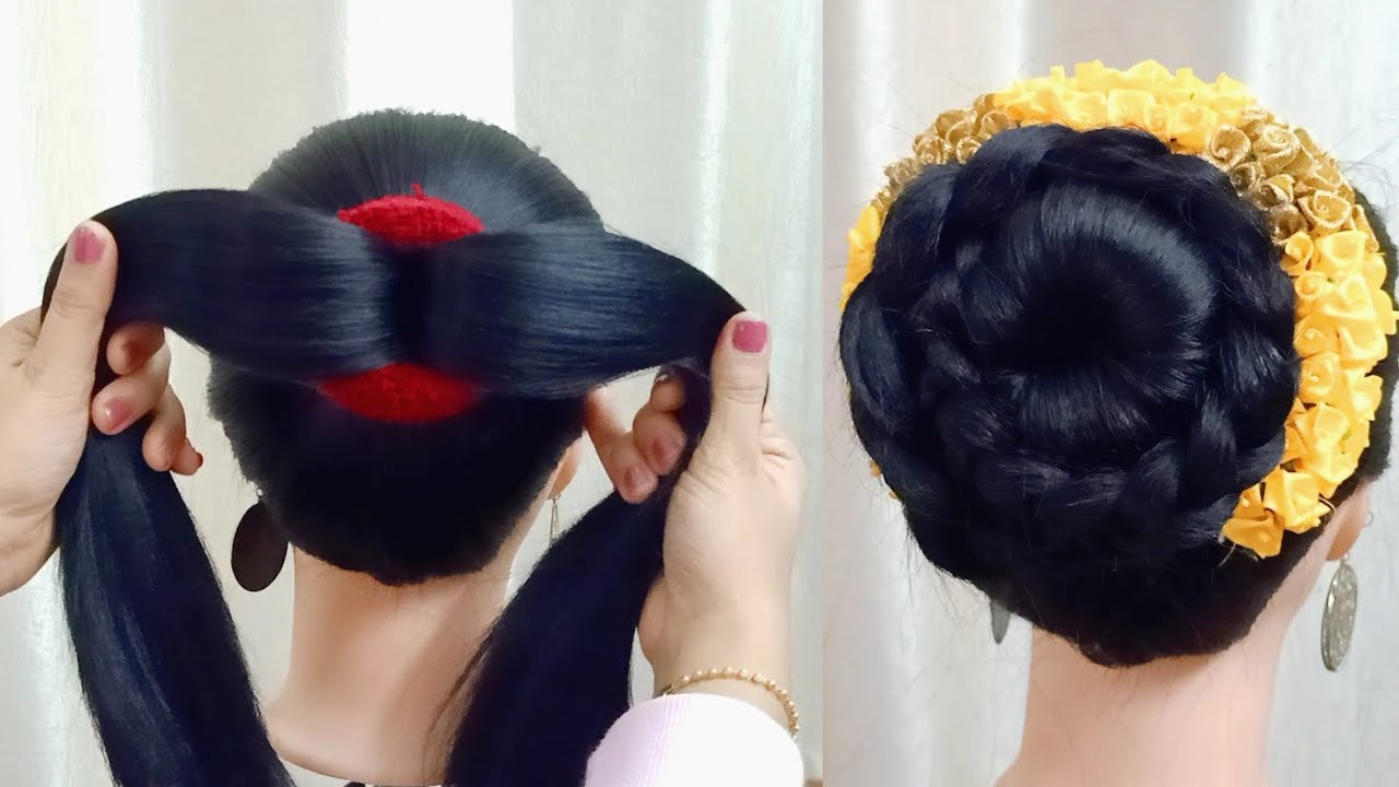 New Bun Hairstyle For Lehenga Dress | High Updo Hairstyles Medium Length Hair | Party Hairstyle ...