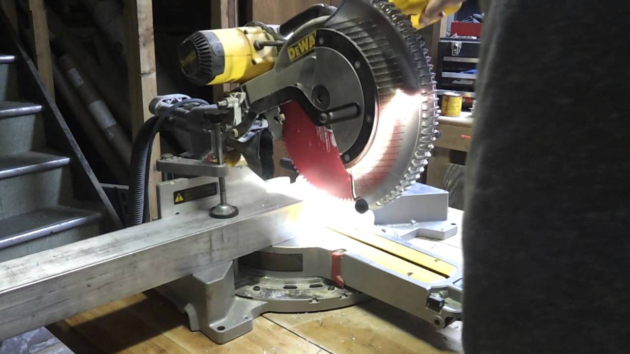 Cutting Thick Aluminum Beam With Miter Saw Youtube