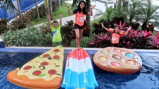 GIANT PIZZA VS GIANT POPSICLE VS GIANT COOKIE Swimming Pool CHALLENGE!