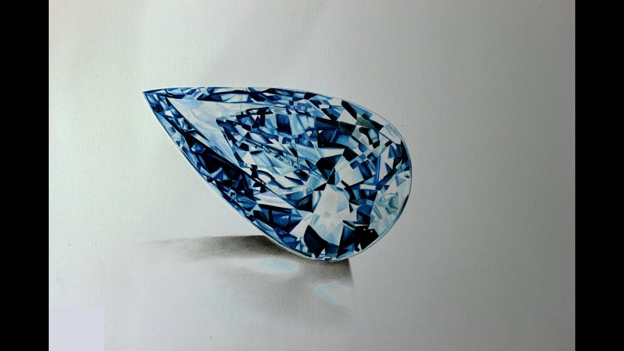 Realistic watercolor diamond drawing - YouTube