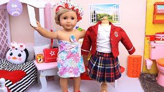 Rutina matutina de muñecas para la escuela ... pero es domingo I Play Toys Español
