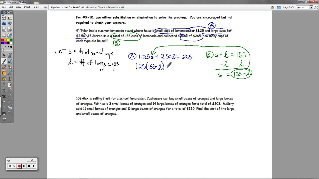Algebra 1 - (OLD VERSION) Unit 3 Review Packet (Systems of Equations and  Inequalities)