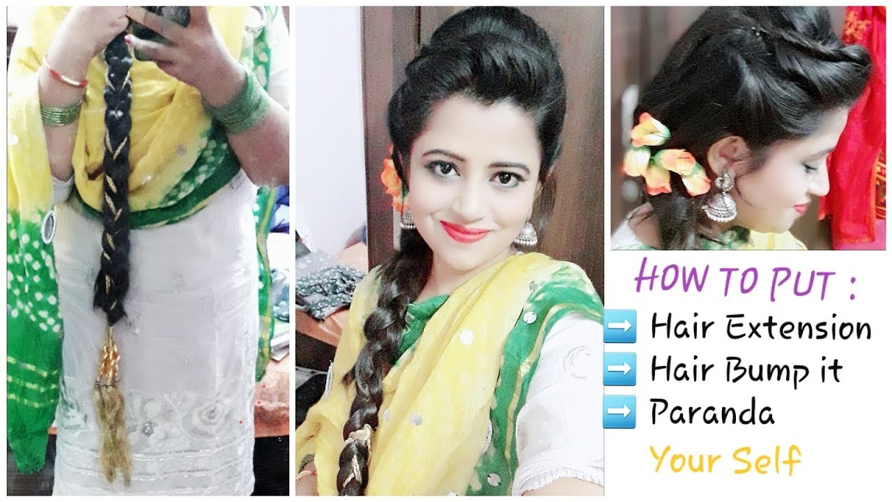 panjabi paranda hairstyle | how to put hair extension /tarsal on your short  hair and do a braid
