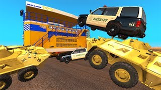 BeamNG drive - Extreme Belaz 75710 Hunt Down Police Chases & Crashes