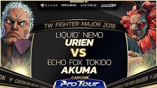 Liquid`Nemo (Urien) vs Echo Fox Tokido (Akuma) - TW Fighter Major 2018 Day 2 Top 32 - SFV - CPT 2018