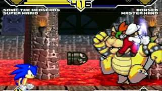Sonic(ME) and Super Mario vs Bowser and Master Hand MUGEN Battle!!!