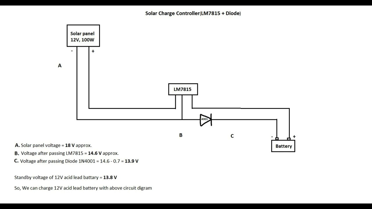 solar charge controller using lm7815 and diode [ 1280 x 720 Pixel ]