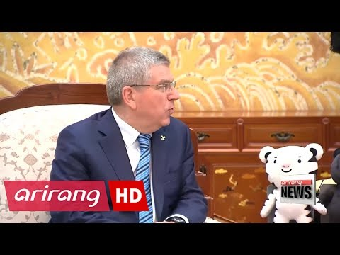 President Moon, Bach discuss possibility of North Korea's participation in the 2018 Winter Olympics